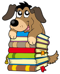 10289629 Cute dog on a pile of books 202 x 248