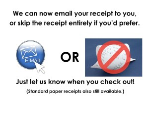 Email Receipts sign