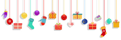 hanging-gift-boxes-socks-mittens-christmas-balls-background-multicolored-white-background-62355707