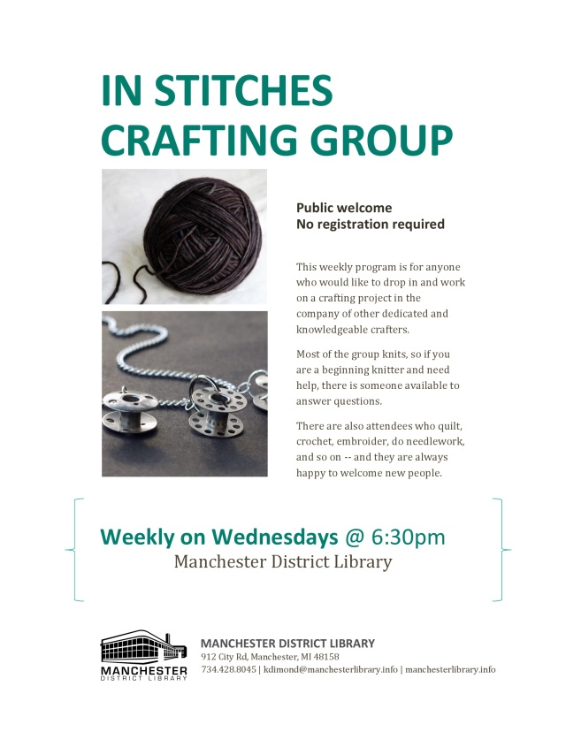 In Stitches Crafting Group Flyer - Wednesdays Weekly