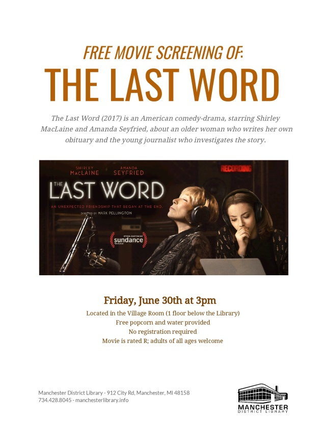 TheLastWord - Free Movie Screening Flyer June 30, 2017