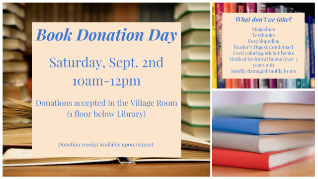 Friends Book Donation Day Flyer - Sept 2, 2017