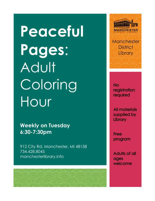 Peaceful Pages Adult Coloring Hour Flyer - Tuesdays Weekly-1