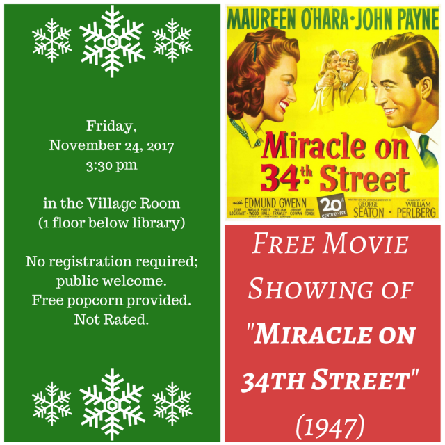Free Movie Showing - Miracle on 34th Street - Nov 24, 2017.png